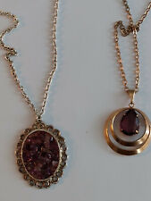 TWO Amethyst Pendant and Necklaces - 1 Solid Pear Shape - 1 Crushed Amethyst VTG