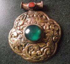 Tibetan Copper Reversible  Monkey Goat  Bird Green Stone  Pendant For Necklace
