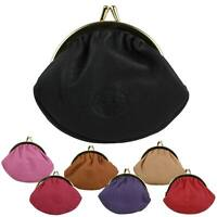 Small LEATHER Ladies Clasp Coin Purse by London Leather Goods Colours Handy