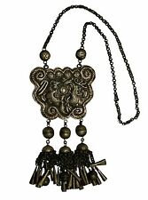 CHINESE TRIBE MIAO AUTHENTIC ANTIQUE SILVER NECKLACE 01