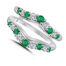 Guard Wrap 14k White Gold Fn Solitaire Enhancer White Diamond Ring & Emerald