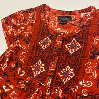 Lucky Brand Patterned Blouse Top Womens Small Red Floral Half Button