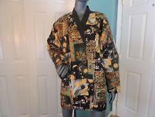 Womens Patchwork Coat Multicolor 2 Pockets Button Front Sz L VGC