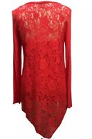 Chelsea Theodore Size Small Red Tunic Top Blouse Lace Back Attached Cami High Lo