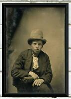 Antique Studio Photo ... Boy in Top Hat ... Vintage Photo Print 5X7