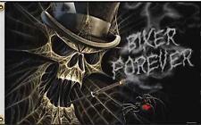 Webbed Skull Head W Top Hat 3 X 5 Motorcycle Deluxe Biker Flag #417 Skeletons