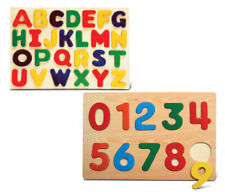 Puzzled Numbers and Letters Small Educational Rasied Wooden Puzzle for Home or T