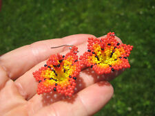 Huichol Bead Indian Flower Earrings earring jewelry Art Hand Made Mexico A6