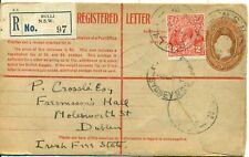 Australia 1931 Bulli Registered Envelope ASC R27 5d Brown KGV Ireland Eire