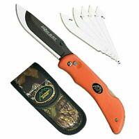 """Outdoor Edge RB-20C Razor-Lite Knife 3.5"""" 420J Steel W/Sheath Rubberized Orange"""