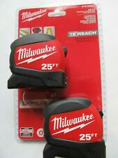 2 PACK Milwaukee 25 ft Wide Blade Tape Measure Anti Tear Lanyard 15ft Reach NEW