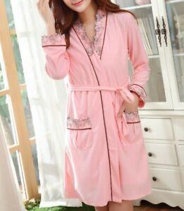 2 Piece Cotton Embroidered Women's Nightshirts Dress Chemises Sleepwear Robes