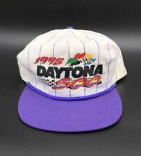 Vintage 1995 Daytona 500 White Purple Stripe Trucker Rope Race Hat NASCAR Cap