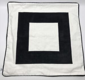Williams Sonoma Velvet Border Linen Pillow Cover, 22x22in, Black, Free Shipping!