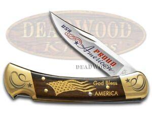 Buck 110 Folding Hunter Knife Proud American Ebony Wood 1/250 420HC Stainless