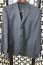 Burberry Men's Suit Blazer 44L 3-Button Grey Pin-Striped 100% Wool