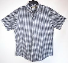 G.H. Bass and Co. Crisp Blue and White Check Men's Short Sleeve Cotton Shirt L