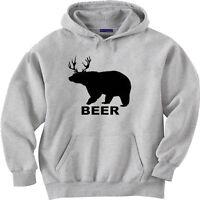 Funny hooded sweatshirt hoodie sweater BEER bear deer drinking hunting shirt