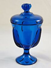Mid Century Modern Turquoise Aqua Teal Blue Footed and Lidded Glass Compote