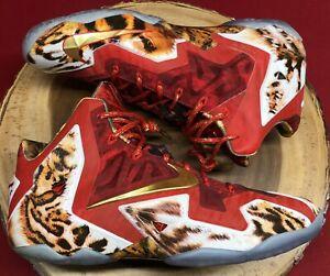 Nike Lebron XI 11 NBA 2K14 Challenge Red Gold Cheetah What The Sz 11.5