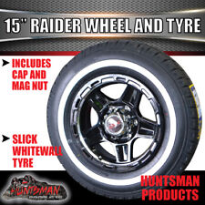"15"" Raider Mag Wheel 6 Stud & 205/75R15 LT Whitewall Tyre Caravan Trailer Boat"