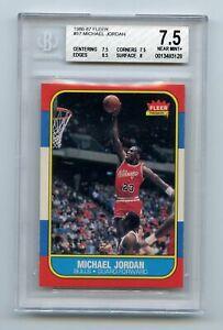 Michael Jordan 1986-87 Fleer #57 Rookie Card Chicago Bulls BGS 7.5 NM+ AG0822