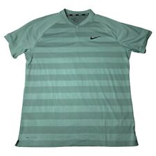 Nike Golf Zonal Cooling Polo Shirt Green Striped Short Sleeve Mens Size 2XL