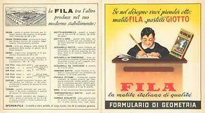 260 - Formulario di geometria con pubblicità matite Fila e pastelli Giotto