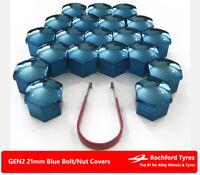 Blue Wheel Bolt Nut Covers GEN2 21mm For Toyota Belta 06-14