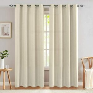 Lazzzy 84 Inches Greyish Beige Thermal Insulated Blackout Curtains Grommet Top