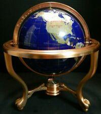Inlaid Semi Precious Stone Globe on Copper Stand w/ Compass Ball Claw Feet Excel