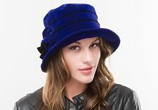 BRAND NEW LADIES BLUE  VELVET WINTER CLOCHE STYLE HAT ROSIE