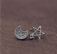 Ohrstecker Ohrringe Mond Stern Sterne Weltall Kristall weiß 925 Sterling Silber