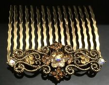 Art Deco Brown Crystal Hair Comb Clip Pin Gold 5.2cm Antique Formal Wedding