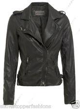 Size 8 10 12 14 16 NEW Women's BIKER JACKET PU FAUX LEATHER Ladies Black Brown