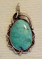 Silver & Turquoise Pendant Big Vintage Navajo Sterling