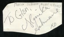 Monika Schnarre and Frank Mills Signed Cut 3x5 Index Card Autographed Signature