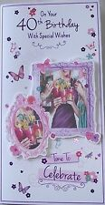 40th FEMALE BIRTHDAY CARD, BUTTERFLIES, COCKTAILS, FLOWERS, BUTTERFLY (293)