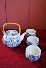ASIAN TEA SET: TEA POT WITH 3 CUPS