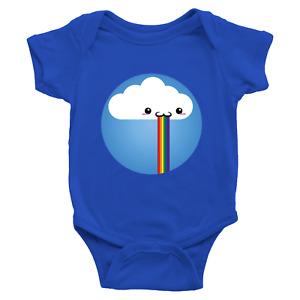 Infant Baby Rib Bodysuit Jumpsuit Newborn Rainbow Puke Barf Filter Funny Cloud