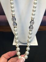 Vintage Signed Avon Large White Pearl  Rhinestone Grey Lucite necklace Gold  30""