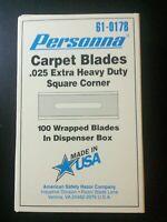 Personna Carpet Blades .025 Extra Heavy Duty Square Corner (61-0178) 100 Blades