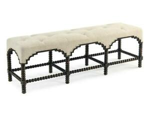 """60"""" L Occasional Bench Turned Bobbin Legs Diamond Tufted French Linen Classic"""
