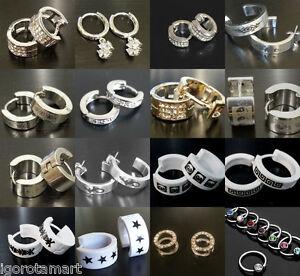 Crystal Huggie Hoop Earrings Stainless Steel Gold Silver Mens Womens 1Pair