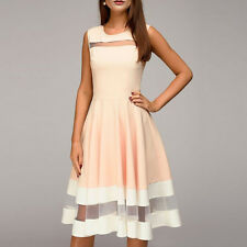 Women Sexy Elegant Sleeveless Evening Party Cocktail Prom Gown Swing Midi Dress