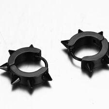 Black Punk Men Earrings Ear Studs Spike Rivet Hoop Huggie Stainless Steel Gift