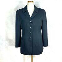 Kasper Womens Petite Solid Black Career Blazer Jacket sz 12P