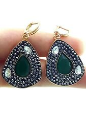Harem Turkish Women Jewelry 14k Gold Over 925 Silver Swarovski Earrings For Her