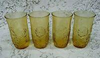 Anchor Hocking Amber Daisy Drinking Glasses set of 4