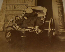 CDV YOUNG BABY IN A PULL CART CA 1860'S ST. THOMAS, ONT